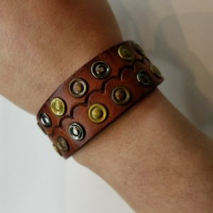 Antique Gold, Silver and Copper Leather Bracelet – Brown