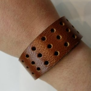 Vented Leather Bracelet – Brown