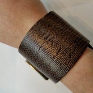 """Snakeskin"" Leather Bracelet – Brown"