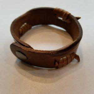 """""""Battered, 'Barbed wire'"""" Leather Bracelet – Light Brown"""