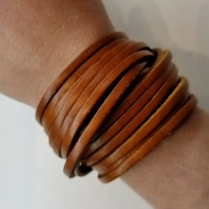 """Shredded"" Double Wrap Leather Bracelet – Brown"
