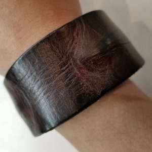 """""""Weathered"""" Leather Bracelet with Magnetic Clasp – Dark Brown"""