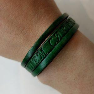 """Carpe Diem"" Leather Bracelet – Green"