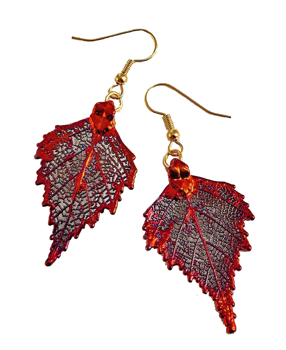 Copper Birch Leaf Earrings