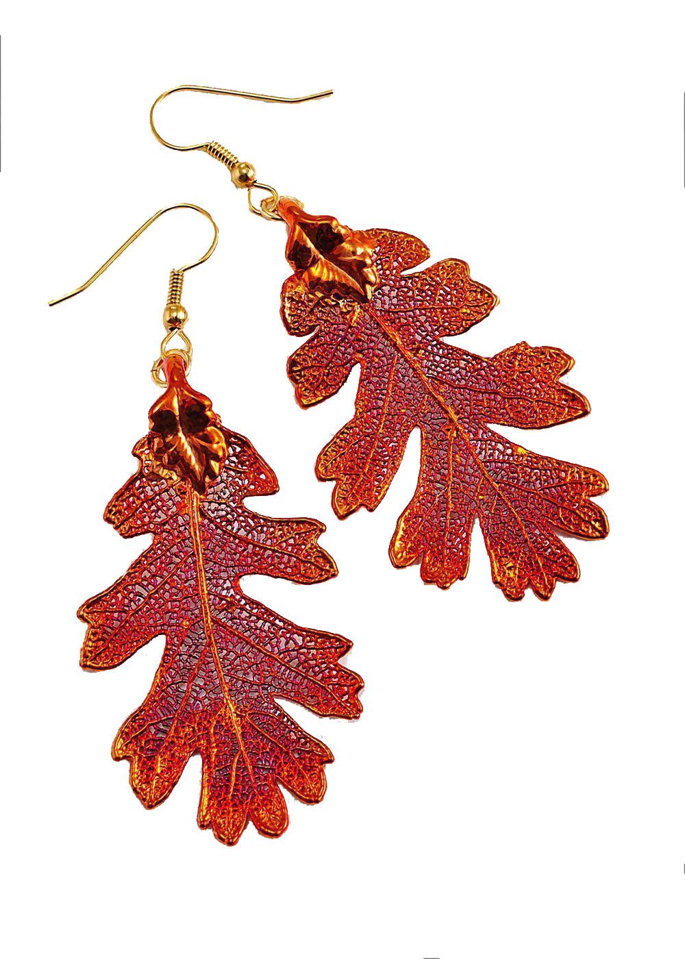 Copper Oak Leaf Earrings