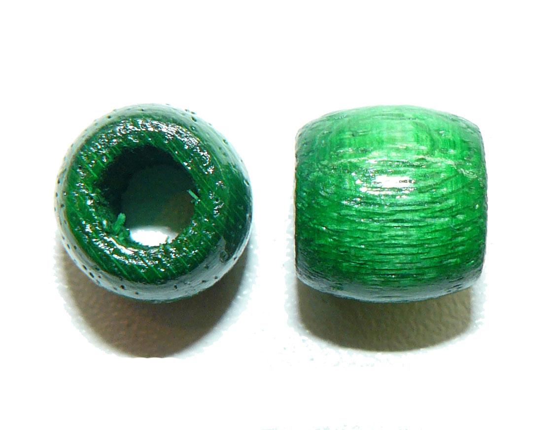 Green Wood Barrel Large Hole Bead