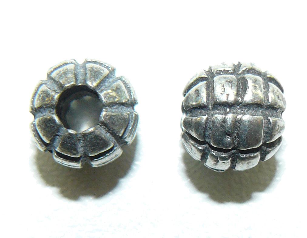 Grid round pewter Bead