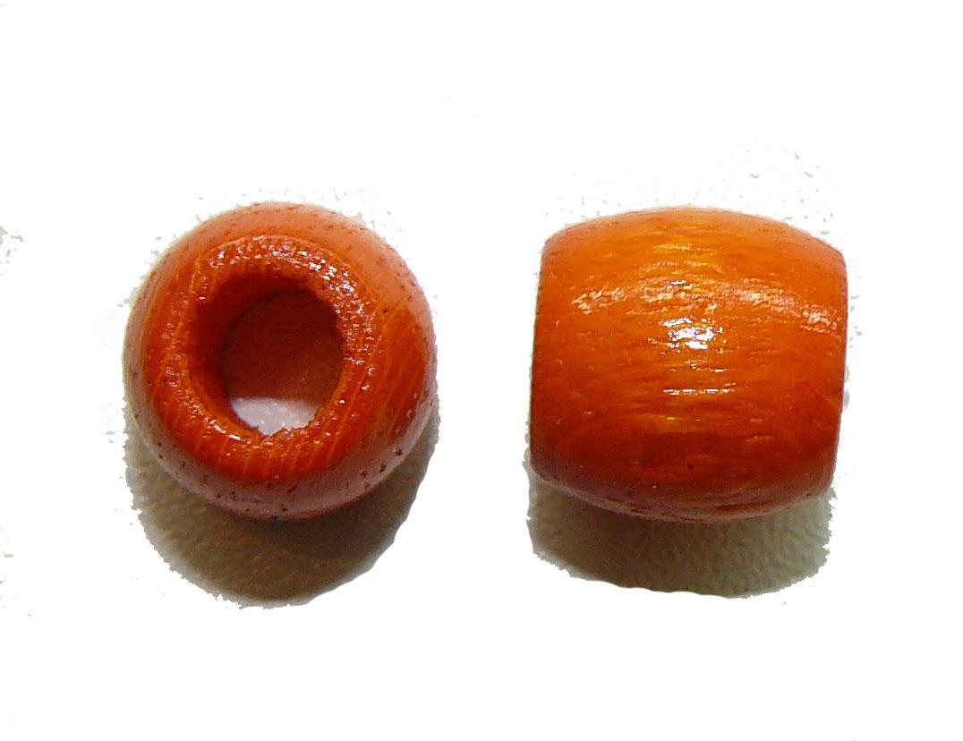 Orange Wood Barrel Large Hole Bead