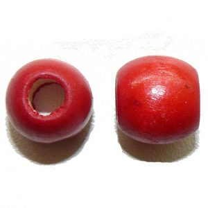 Red Wood Barrel Large Hole Bead