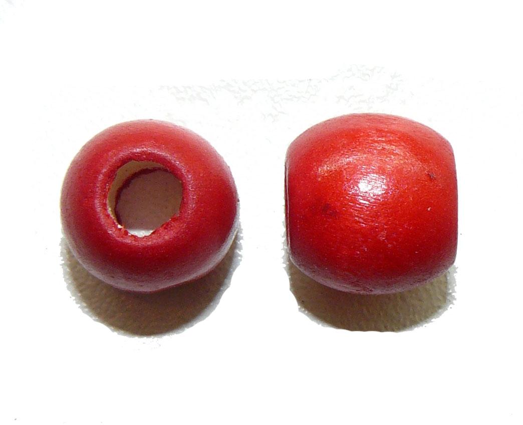 Red Wood Barrel Large Hole Bead