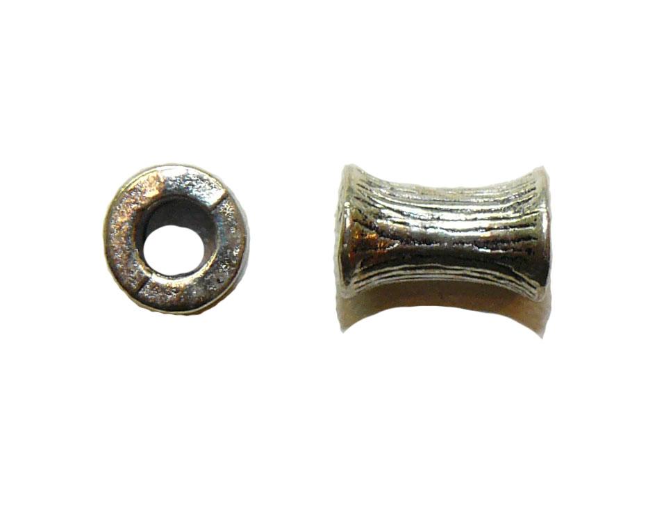 Ribbed Dogbone Metal Bead