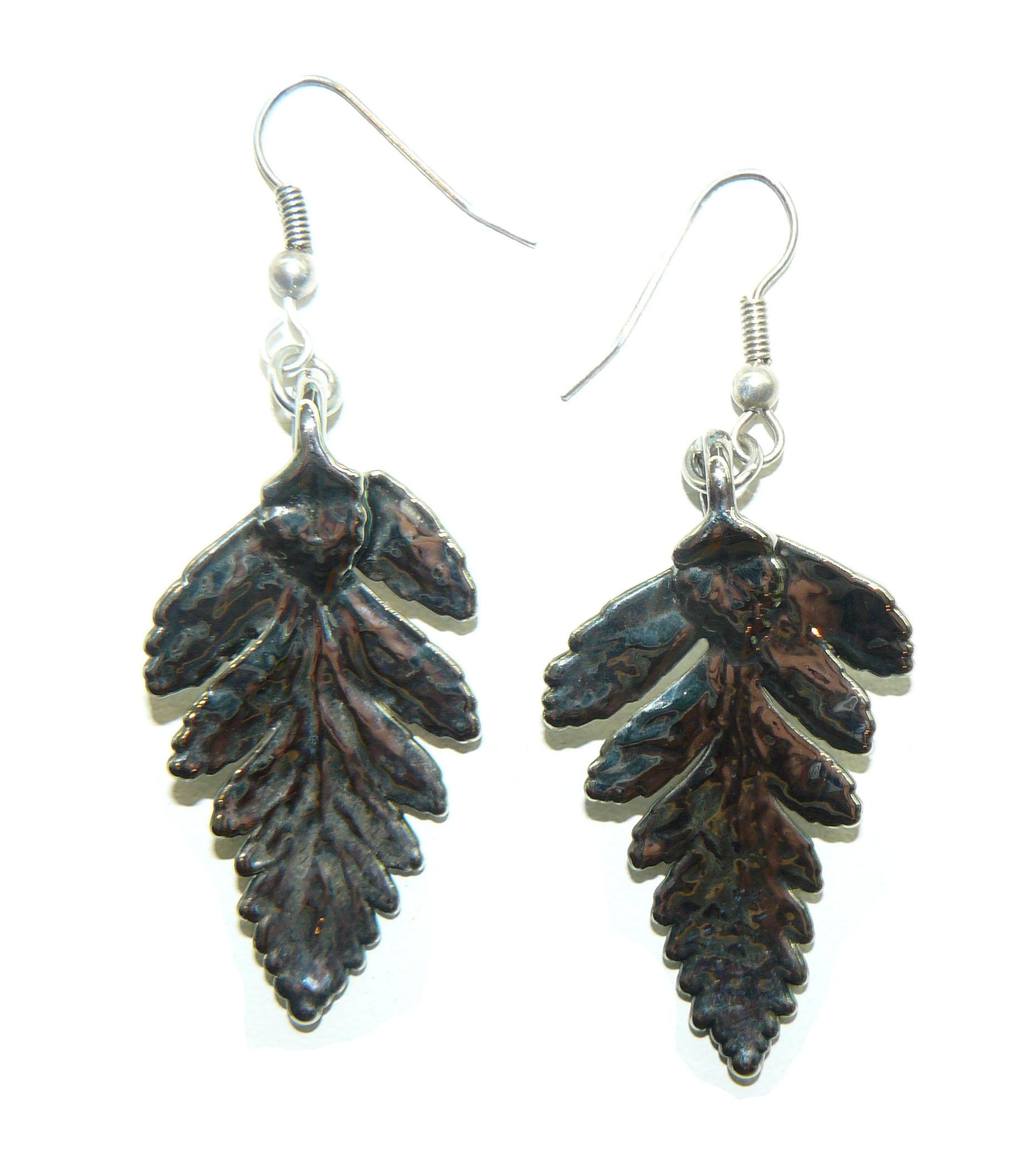 Silver Fern Leaf Earrings
