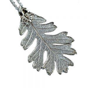 Oak Leaf In Silver – Real Leaf Pendant