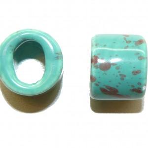Turquoise Ceramic Large Oval Hole Bead