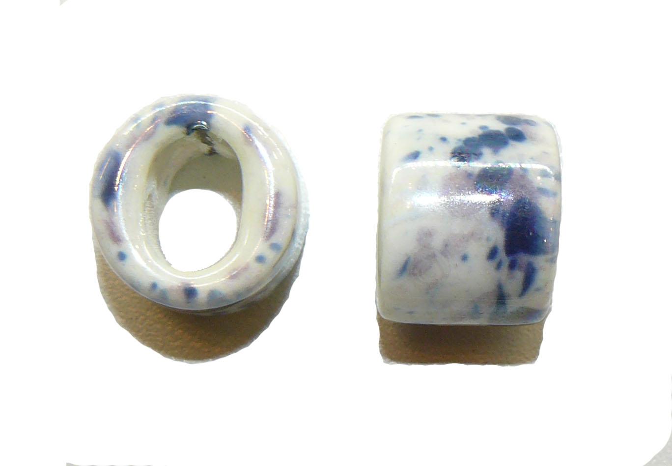 White Ceramic Large Oval Bead