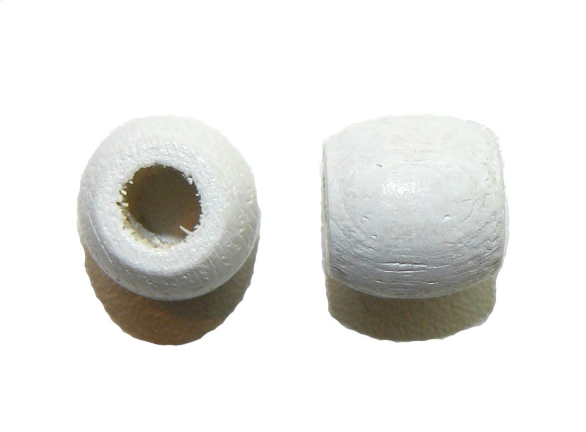 White Wood Barrel Large Hole Bead