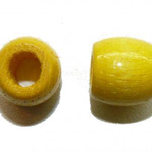 Yellow Wood Barrel Large Hole Bead