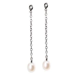 Trollbeads – Fancy Drops Earrings with Pearl, 3.5cm / 1.37 inch – 56501-03