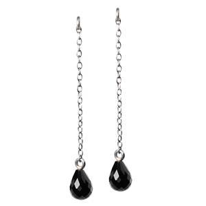 Trollbeads – Fancy Facet Drops Earrings with Onyx, 3.5 cm / 1.37 inch – 56502-03