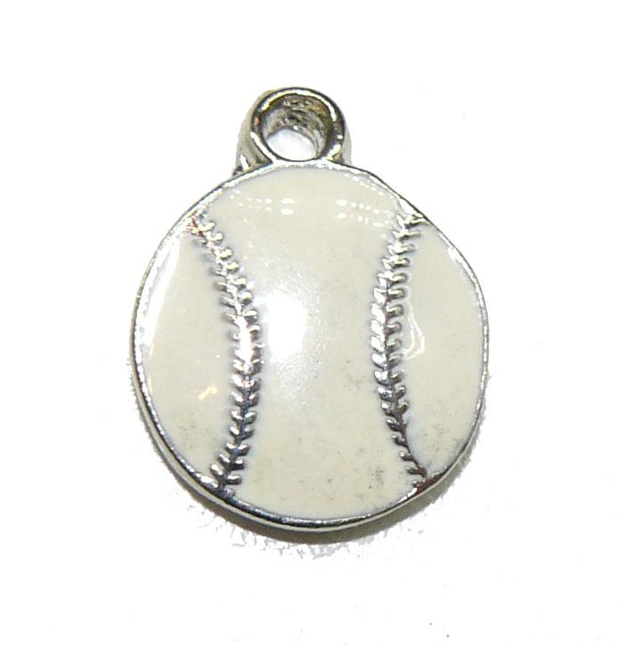 Flat Baseball Epoxy Pewter Charm
