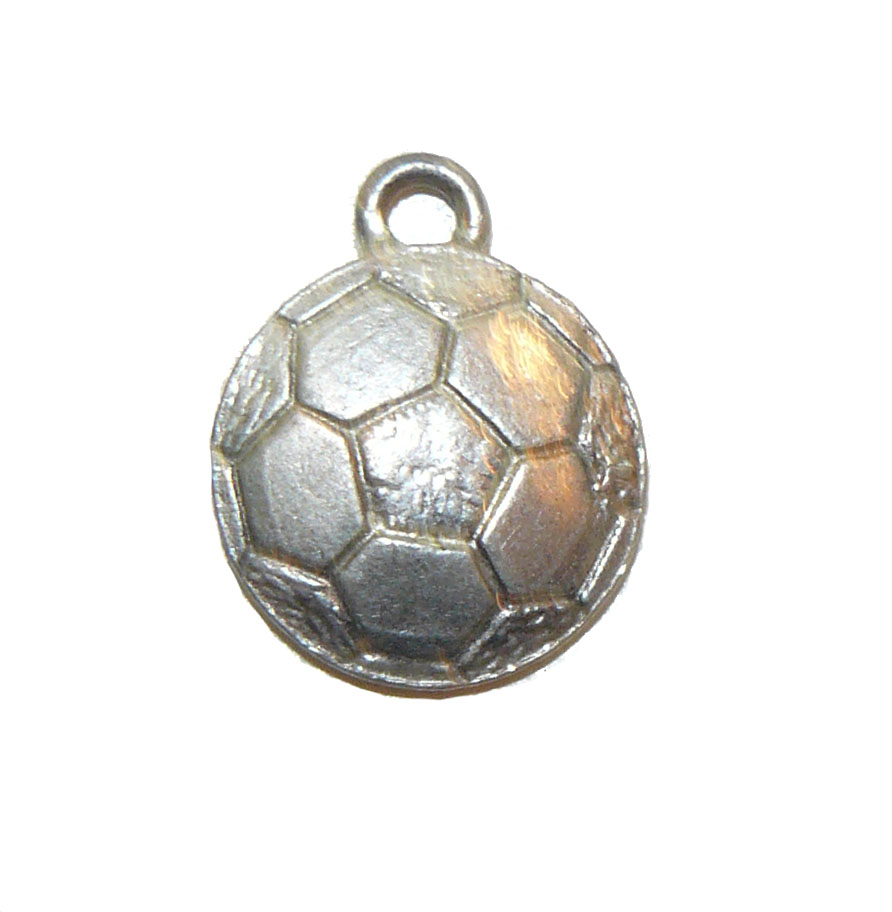 Flat Rounded Soccer Ball Pewter Charm