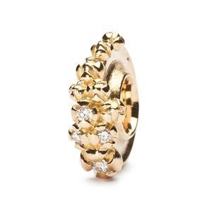 Trollbeads – Gold Bougainvillea Bead With Diamonds – 31104