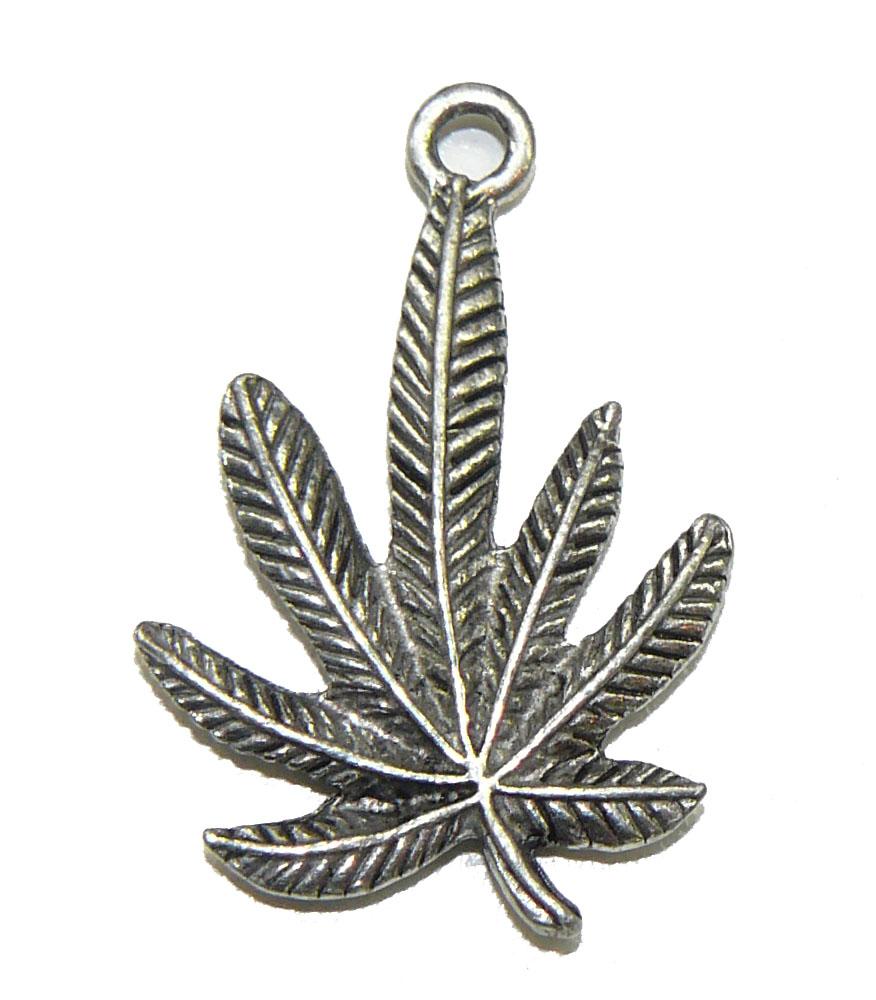 Hemp Leaf - Pewter Charm
