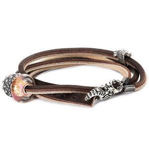 Leather Bracelet, Brown-Light Grey