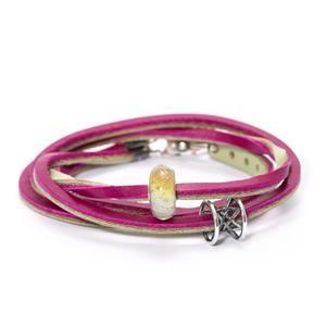 Trollbeads – Leather Bracelet Cherry/Sage Green 36 cm/14.1 inch – TLEBR-00067-00069