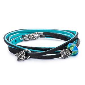 Leather Bracelet, Cyan-Key