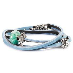 Leather Bracelet, Light Blue-Dark Grey
