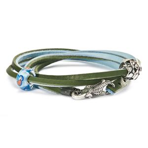 Leather Bracelet, Light Blue-Green