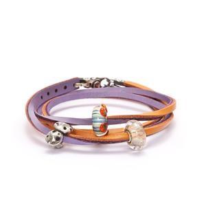 Trollbeads – Leather Bracelet Pumpkin/Grape – TLEBR-00064-00066