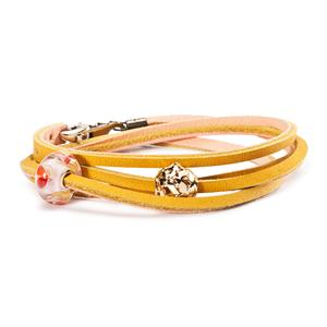 Leather Bracelet, Yellow-Light Pink
