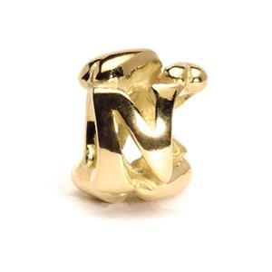 Letter Bead, N, Gold