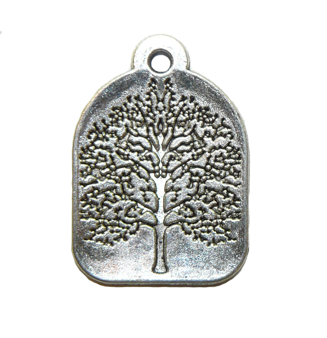 Tree Slab Silver Metal Charm