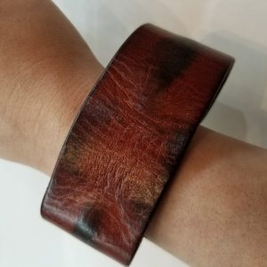 """""""Weathered"""" Leather Bracelet with Magnetic Clasp – Dark Auburn"""