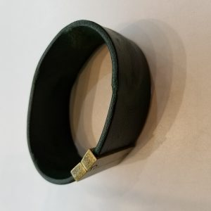 """""""Weathered"""" Leather Bracelet with Magnetic Clasp – Dark Emerald and Black"""