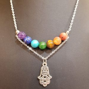 Two Tiered, Chakra Stones and Charm – Necklace
