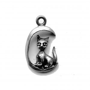 Cat On Moon – Pewter Charm