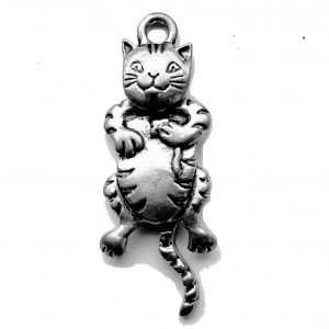 Cat With Swivel Head – Pewter Charm