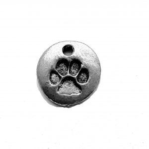 Dog Paw Disc – Pewter Charm