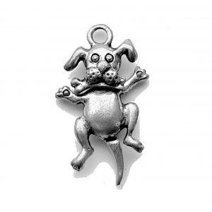 Dog with Bone Swivel Head – Pewter Charm