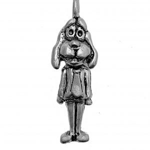 Dressed Dog With Swivel Head – Pewter Charm