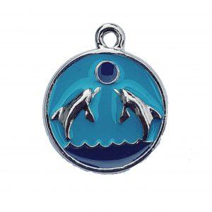 Enamel Round Double Dolphins – Pewter Charm