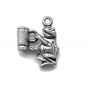 Frog Drinking Beer – Pewter Charm