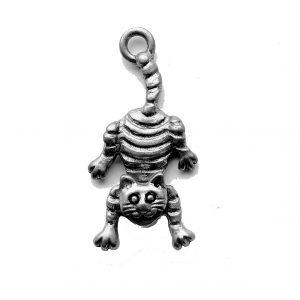 Hanging Cat With Swivel Head – Pewter Charm