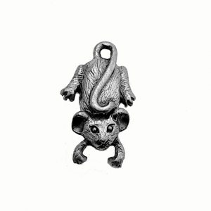 Mouse With Swivel Head Charm – Pewter Charm