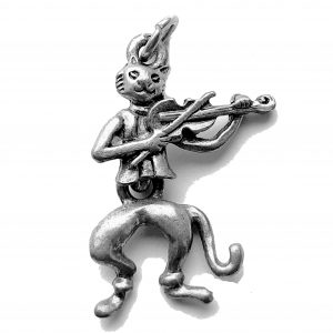 Movable Fiddle Cat – Pewter Charm