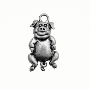 Pig With Swivel Head – Pewter Charm